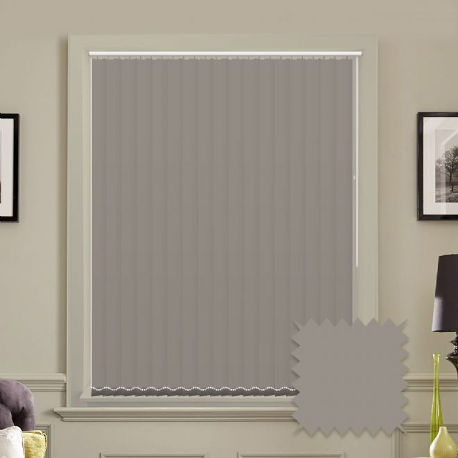 Made to measure vertical blinds in Splash Taupe plain fabric - Just Blinds